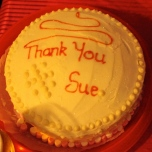 Sue's leaving cake